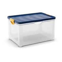 Clipper Box XL průhledný-modré víko 60l KIS 008683WHTRN