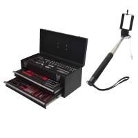 Sada nářadí 159 dílů v kovovém kufru + teleskopická tyč Selfie ASIST 80-3001-SAD